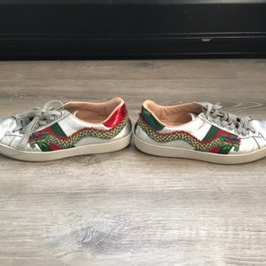 c20c25851 Gucci Shoes | Silver Ace Dragon Embroidered Sneakers | Poshmark